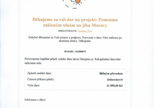 Charitativní sbírka na pomoc obcím jižní Moravy